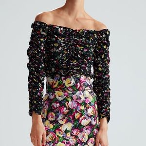 Zara printed draped top NWOT xs